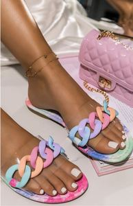 Trend Street Style Women Slippers Chain Fashion Sexy Flat Slides Rubber Sole Non Slip Outdoor Beach Sandals Shoes Ladies 2021