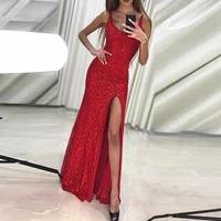 spaghetti strap summer evening dresses 2021 satin mermaid deep v neck sexy prom gowns side split party dress vestido de fiesta