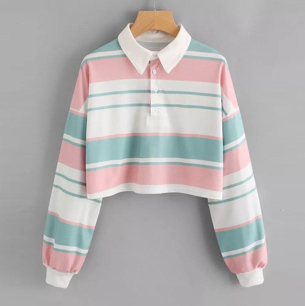 Mais vendido em 2020 das mulheres casual gota ombro listrado colheita pulôver camisola topo blusa apoio atacado e dropshipping