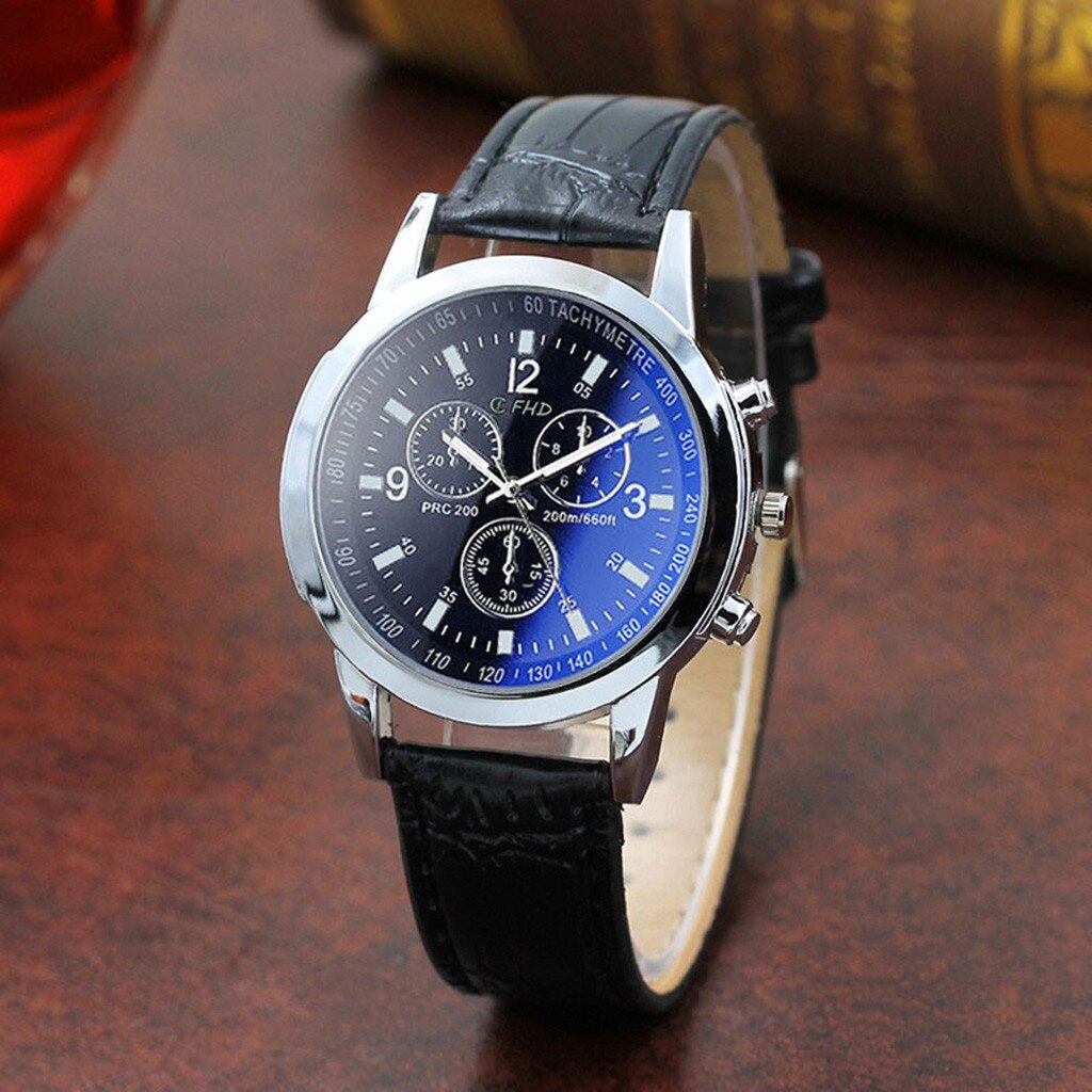 Fashion Dark Blue Dial Quartz Wristwatches Men Leather Strap Fashion Men's Watches Convenient Pin Bu