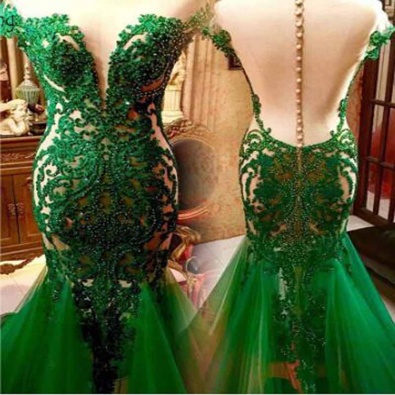 Vestidos de Fiesta de sirena con volantes y volantes de encaje con aplicaciones de cuentas verde esmeralda vestido de noche sencillo de manga corta con cuello redondo largo hasta el suelo