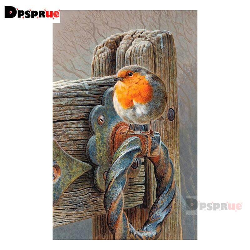Dpsprue Full Square/Round Diamond Painting Cross Stitch Diamond 3D Embroidery doorbell Bird DIY 5D Moasic Home Decor Gift Pu22
