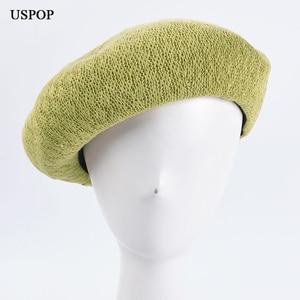 USPOP Spring summer hats women berets fashion solid color knitted beret Korean style breathableberet