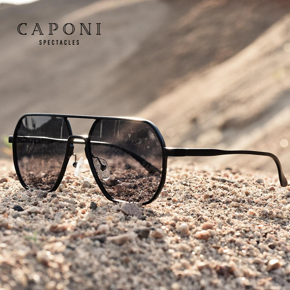 CAPONI Men Sunglasses 2020 New Photochromic Polarized Sun Glasses Women Anti UV Ray Fashion Retro Eyewear gafas de sol BS8692