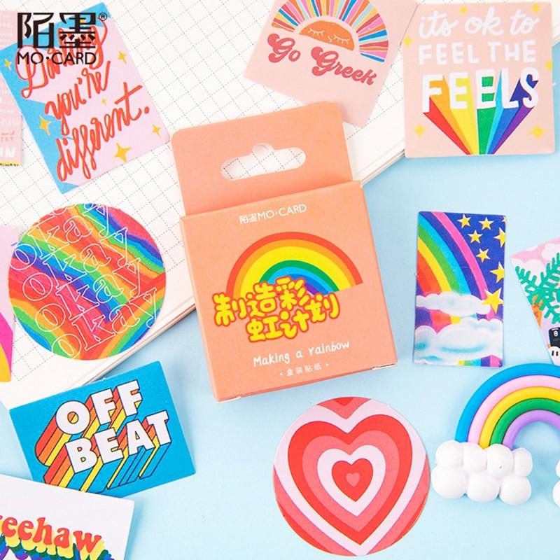 46 pçs/caixa bonito arco-íris adesivos bala diário decorativo mini adesivos de papelaria scrapbooking diy diário álbum vara lable