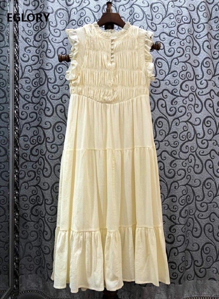 100% algodão vestido 2020 verão estilo feminino plissado retalhos vintage botão deco sem mangas meados de bezerro comprimento amarelo azul escuro vestido