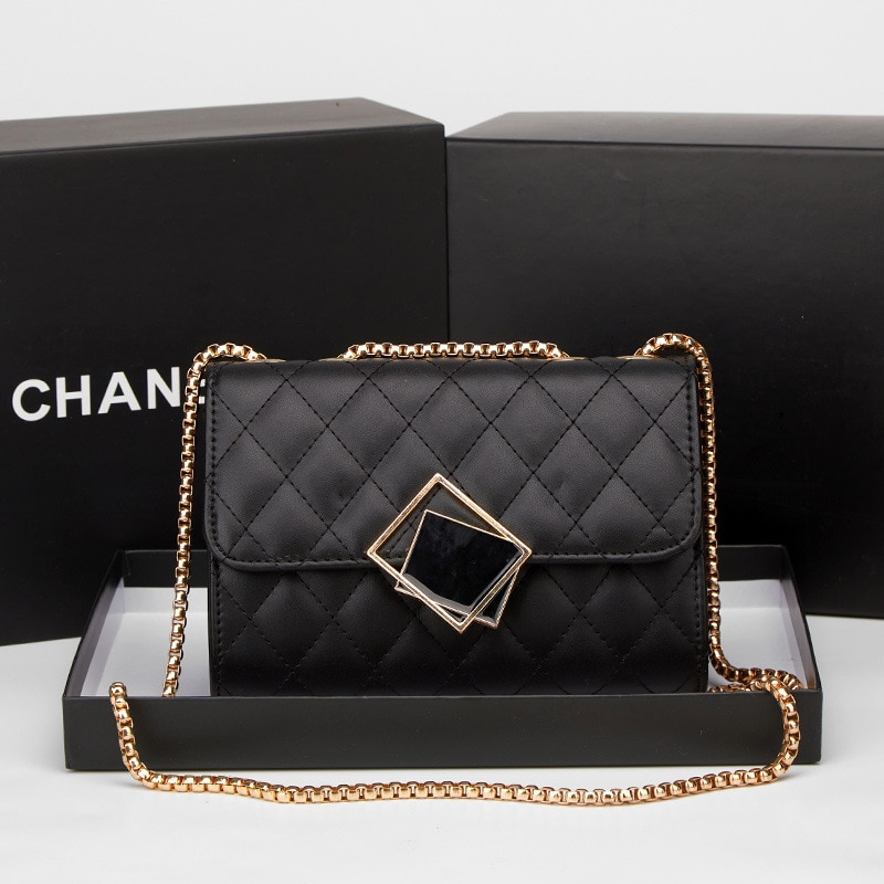 Cc de verano Vintage de lujo cuadrado pequeño bandolera Mini bolso de las mujeres de bloqueo de cuero de la Pu bolso de hombro con cadena mujer Messeng bolso