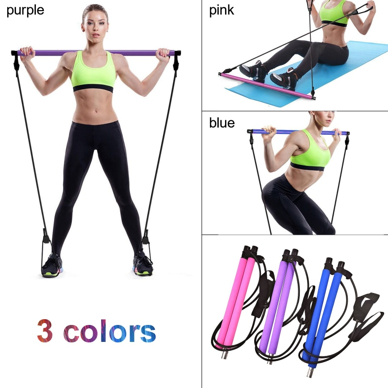 Yoga Resistance Bands Pilates Stick Bodybuilding Crossfit Gym Rubber Tube Elastic Bands Fitness Equipment Training Exercise Bar