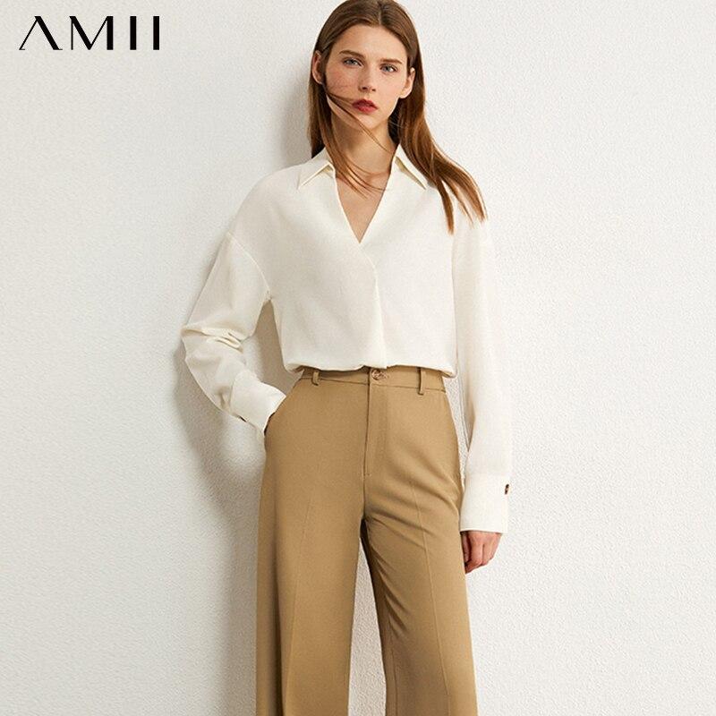 AMII minimalismo otoño Olstyle mujeres camisa Temperamental Vneck sólido blusa de mujer floja mujer suelta camisa Tops 12030291