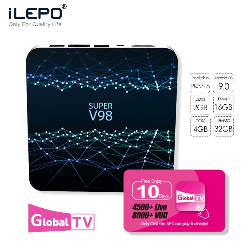 IEPLO Super V98 TV BOX 4G DDR3  Tv Box Android 9.0 Boxes Iptv Subscription  RK3318 Quad-Cor Iptv M3u Smart Tv  Android Tv
