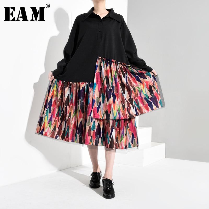 [EAM] vestido camisa talla grande estampado diseño negro para mujer solapa nueva manga larga ajuste suelto moda marea primavera otoño 2020 1B050