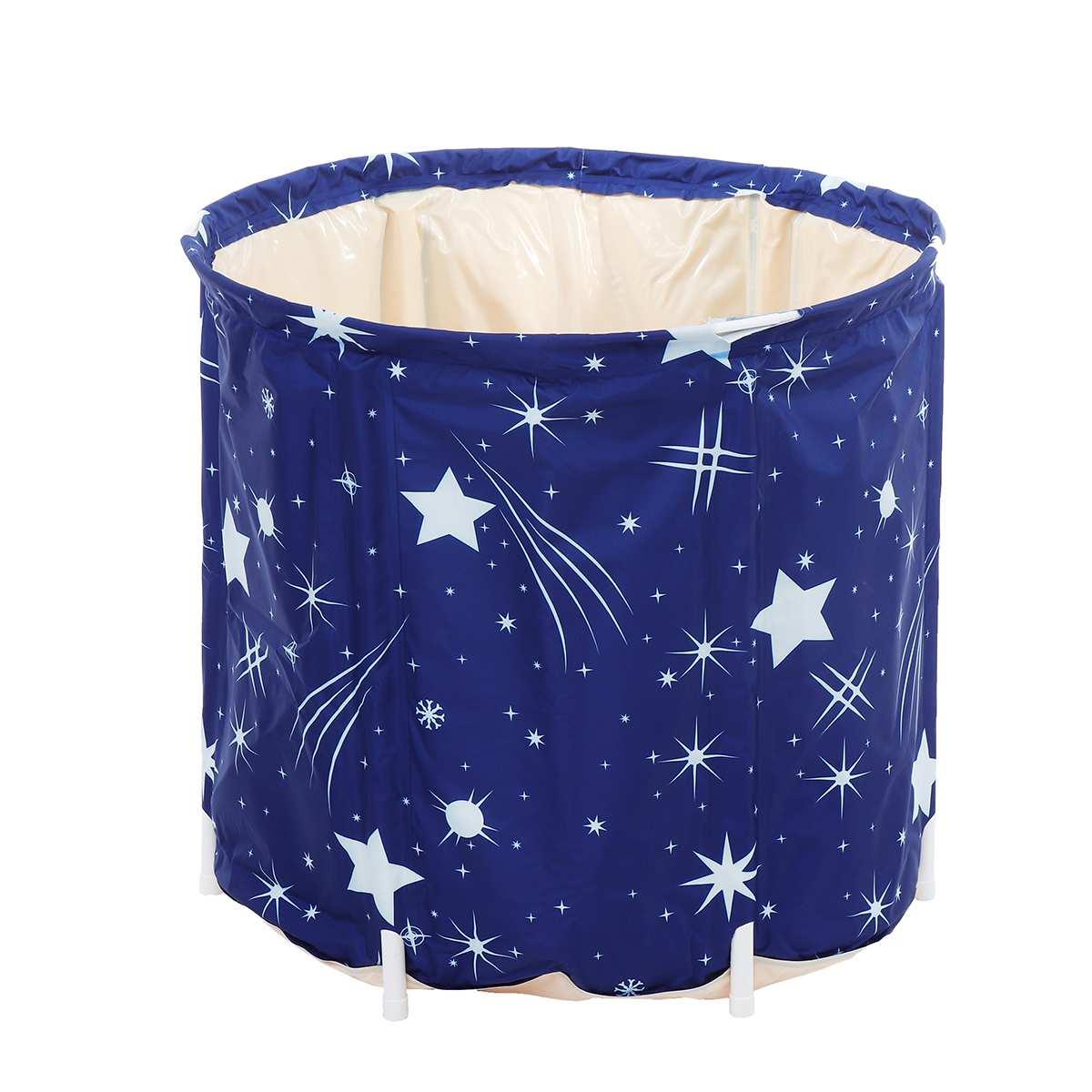 70cm*65cm Portable PVC Style Folding Fabric Bracket Adult Folding Bath Barrel Household Bathtubs Barrel Large Body Steam Barrel
