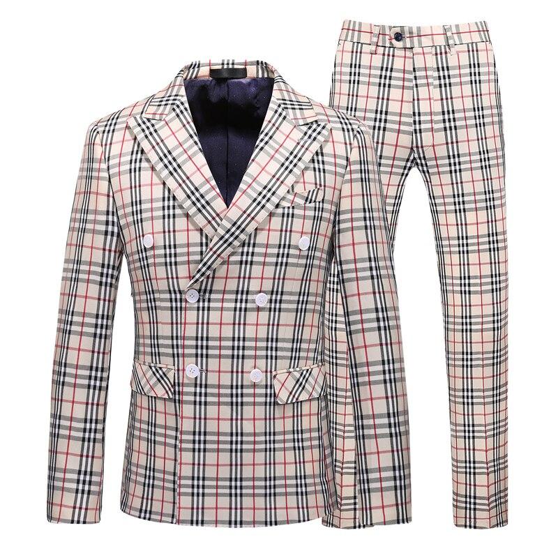 2021 Brown Classic Plaid Tweed Suit for Men Slim fit Groom Wedding Tuxedo Blazer Male Formal Business Jacket Vest Pants 3 Piece