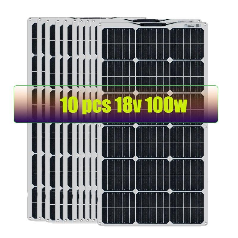 بوقوانغ 2 قطعة 12 فولت 100 واط مرنة الالواح الشمسية الاحادية لبطارية السيارة والقوارب والمنزل 200 واط 300 واط 1000 واط 18 فولت الألواح الشمسية الصين