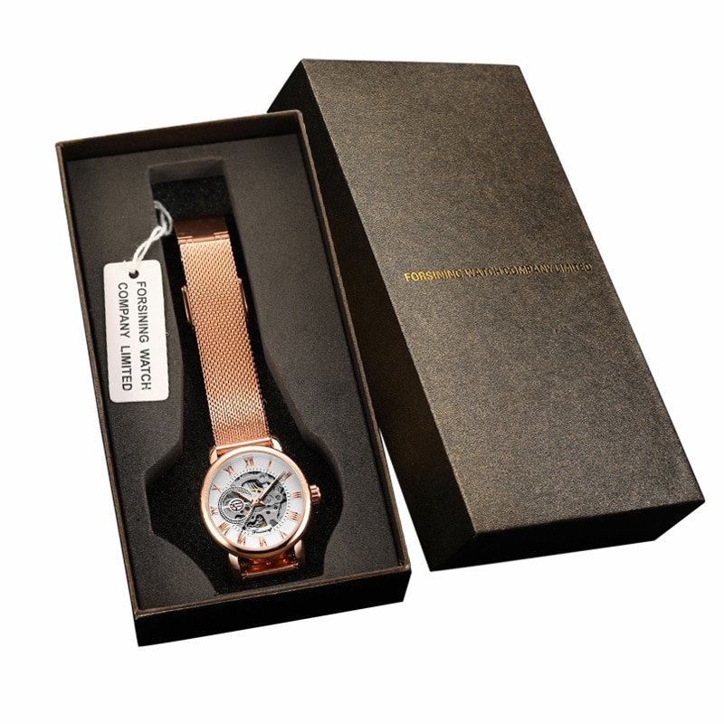 Montre Femme Forsining Women's Watch Rose Gold Stailess Steel Case Skeleton Womens Mechanical Watch Ladies Automatic Wrist Watch enlarge