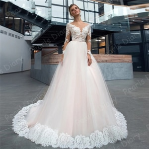 Elegant 2021 Beach Lace Wedding Dresses A Line Boho Appliques Bride Dress Vestido De Noiva New Arrival Long SleeveBridal Gowns