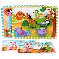 wooden large creative magic stickers cartoon animal puzzle kindergarten scene cognitive early education educational wooden toys