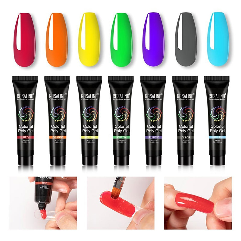 Nail Extension Gel Art Builder Makeup Tool Solid Color Long Lasting Portable for Women MH88