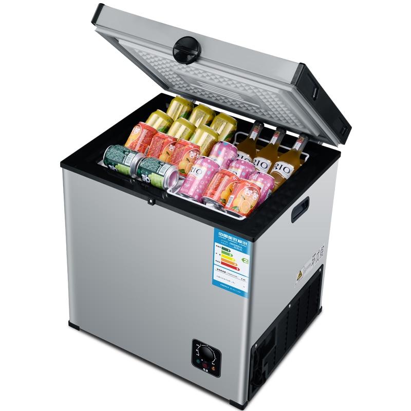 Mini geladeira elétrica 55l com congelador horizontal, temperatura única, para uso doméstico comercial 120w bd/tablete