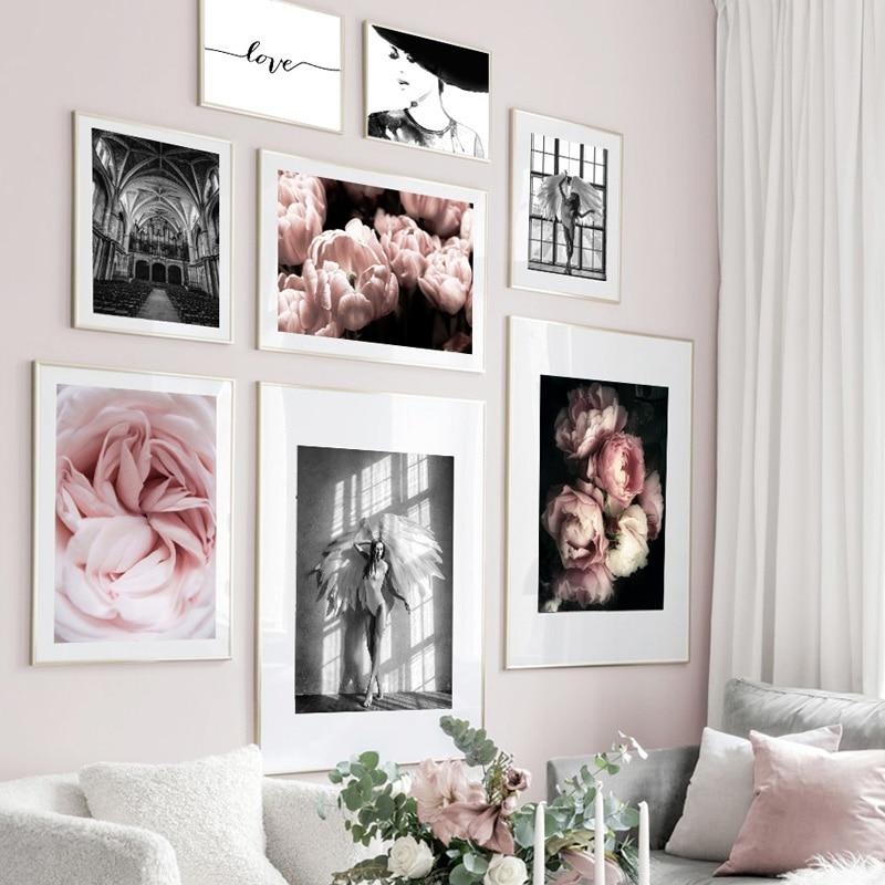 Ángel Mujer Flor Iglesia citas carteles nórdicos e impresiones planta cuadro sobre lienzo para pared cuadros para decoración para sala de estar