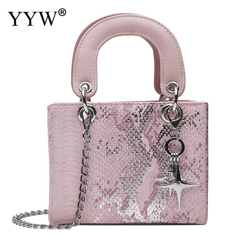 Yyw snakeskin padrão bolsa feminina casual crossbody sacos femininos 2019 moda compras saco de viagem senhoras rosa bolsa feminina