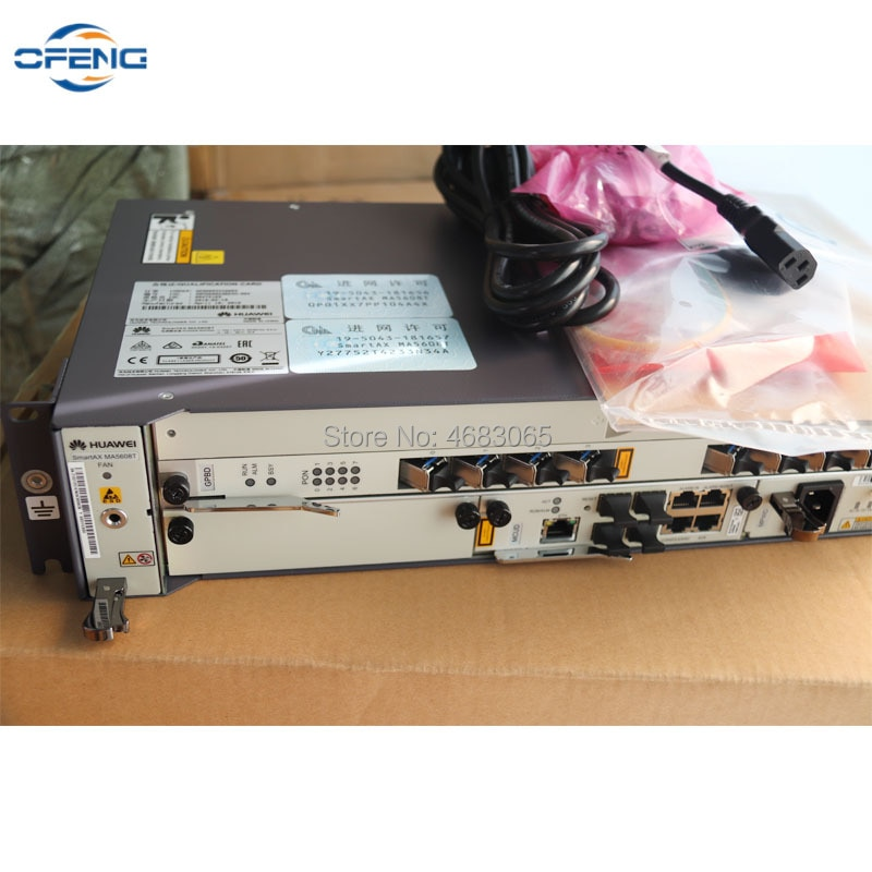 second-hand 99% new Huawei OLT Gpon MA5608T Chassis+1*MCUD 1G control board+1*MPWC DC power board+GPBD C+ 8-port service board