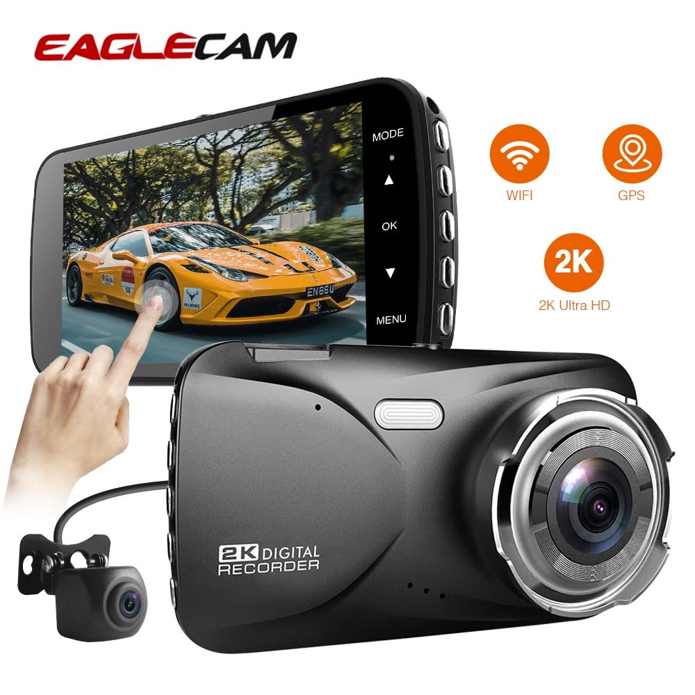 """Hd completo 2k 4.0 """"câmera do traço 1440p gps e wifi capacitor touch screen lente dupla com câmera traseira visão noturna registrador automático"""