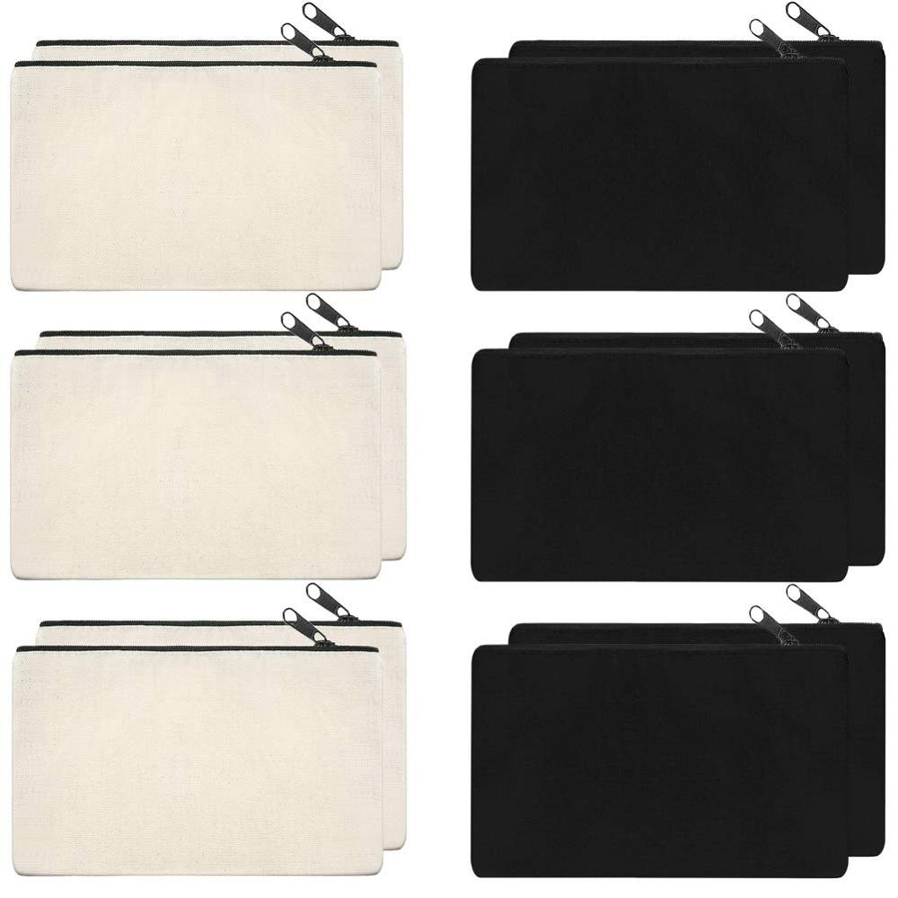 12 Pack Canvas Zipper Bags, Multi-Purpose Blank DIY Craft Pouches for Makeup, Travel, Party Gift, Organize Storage (Black,White