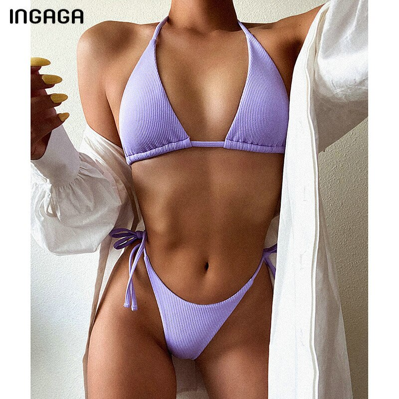 Ingaga push up biquini maiôs 2020 roupa de banho das mulheres tanga alta corte biquini banhistas halter beachwear maiô conjunto