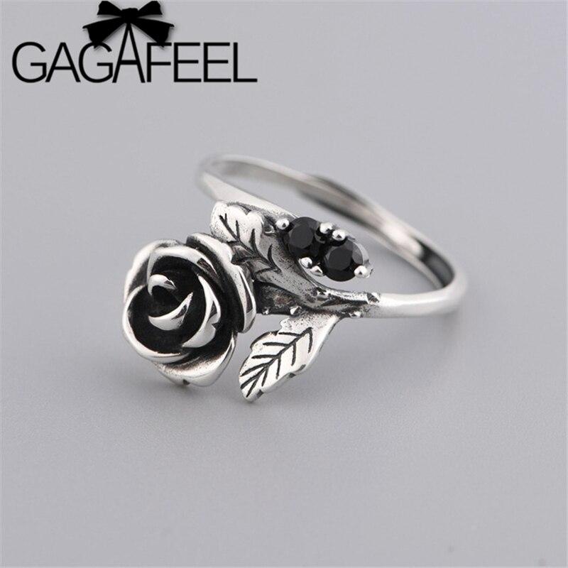 Gagafeel real s925 prata flor folha anéis para mulheres romântico moda jóias presente ajustável rosa flor anel aberto