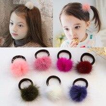 Furling Girl confezione da 2 fasce per capelli elastiche in vera pelliccia Pom Pom palla di visone tinta unita per ragazze copricapo accessori per capelli morbidi