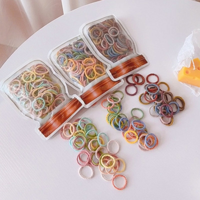 100Pcs Girls Candy Color Nylon Elastic Rubber Band Hair Tie Kids Bandage Chewing Gum Girls Hair Tie Headband