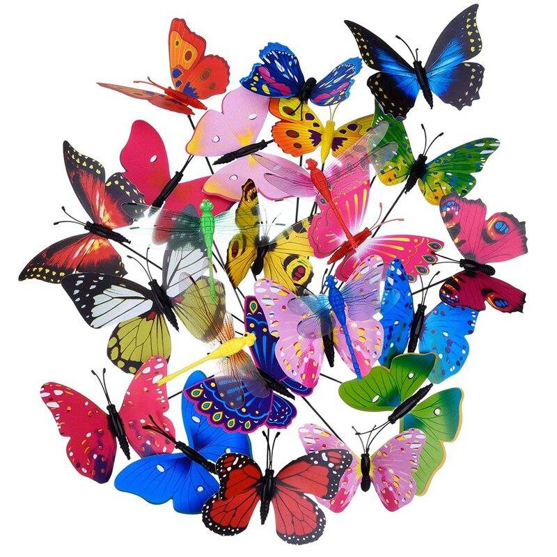20 piezas de mariposas de jardín estacas y 4 piezas de libélulas estacas adornos de jardín para Patio decoraciones de fiesta en el Patio, totalmente 2
