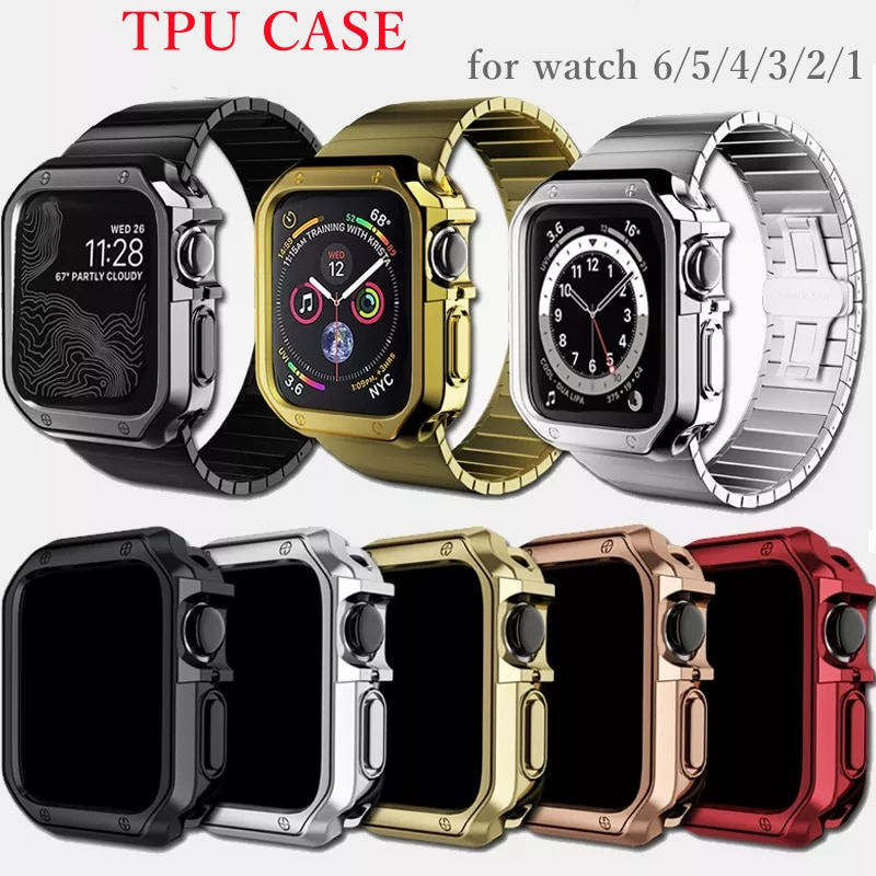 case for apple watch series 6 5 4 3 2 1 se band all around ultra thin screen protector cover iwatch case 44mm 40mm 42mm 38mm Soft Clear TPU Screen Protector for iWatch 4 3 44MM 40MM strap Watch Cover for Apple Watch band Case 6 SE 5 4 3 2 1 42MM 38MM