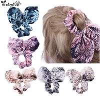 girls floral printing bow rubber bands baby safe elastic hair bands ponytail holder rabbit ears hair accessories gift