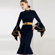 Party kleid Meerjungfrau kleid schwarz frauen kleid für frauen elegante Herbst gelb rüschen Ärmeln ingwer Gürtel