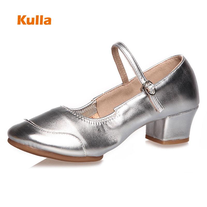 Zapatos de baile cuadrados de goma para mujer, zapatos de baile al aire libre de Salsa moderna, de goma suave para mujer, zapatos de baile de Jazz, tacones de 4cm