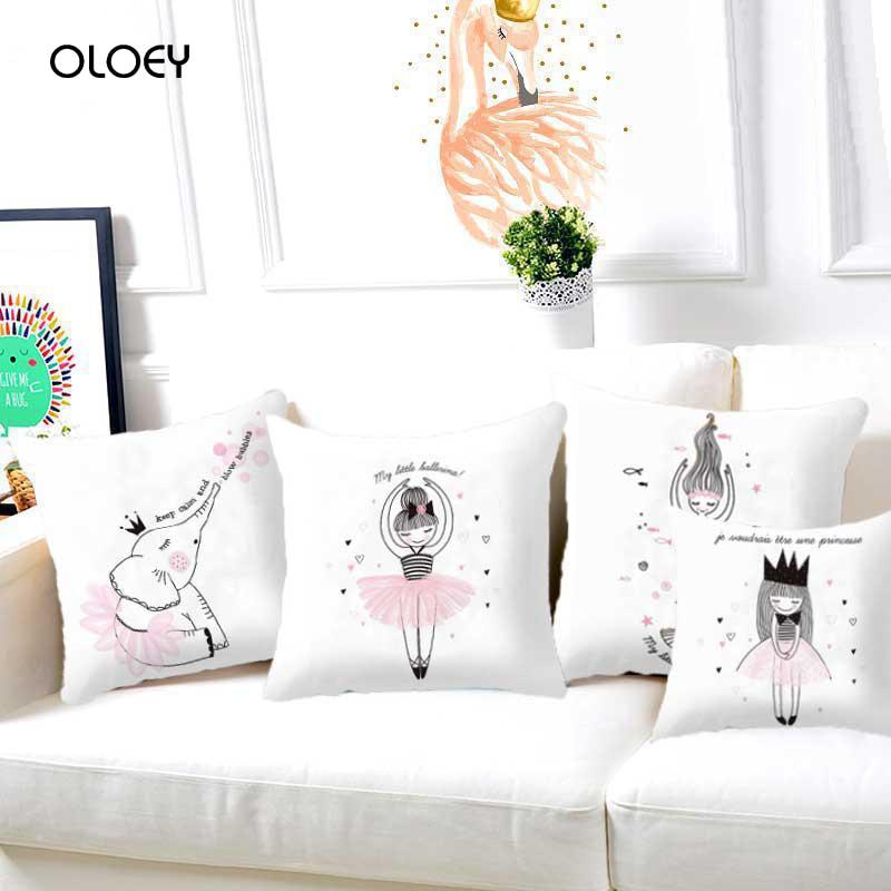 Funda de cojín para niños Rosa único ciervo oso conejo ballena gráfico sirena unicornio chica decoración de la habitación funda de cojín ..