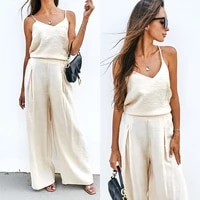 summer women set loose sleeveless top shirt and long pants bottom two piece seta beach home casual outfit suit dropshipping