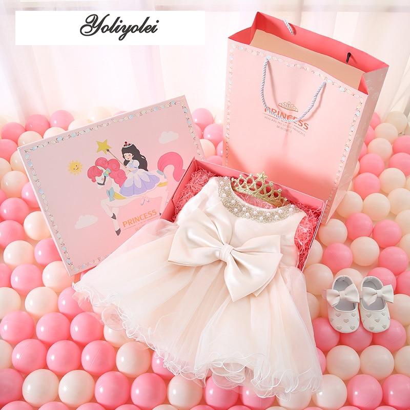 Yoliyolei-فستان الأميرة لحديثي الولادة ، مع صندوق هدايا ، بدلة الصيف ، فستان عيد الميلاد الأول ، ملابس الحفلة للفتيات الصغيرات