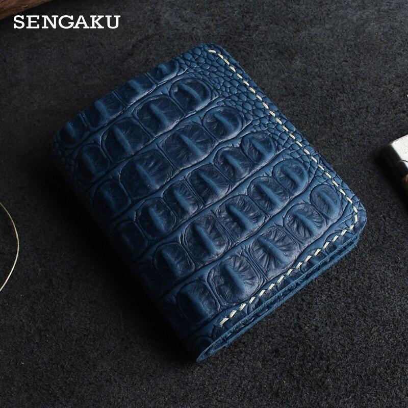 Crocodile Pattern Short Men's wallet Handmade Genuine Leather Women's wallet purse With 6 Credit Car