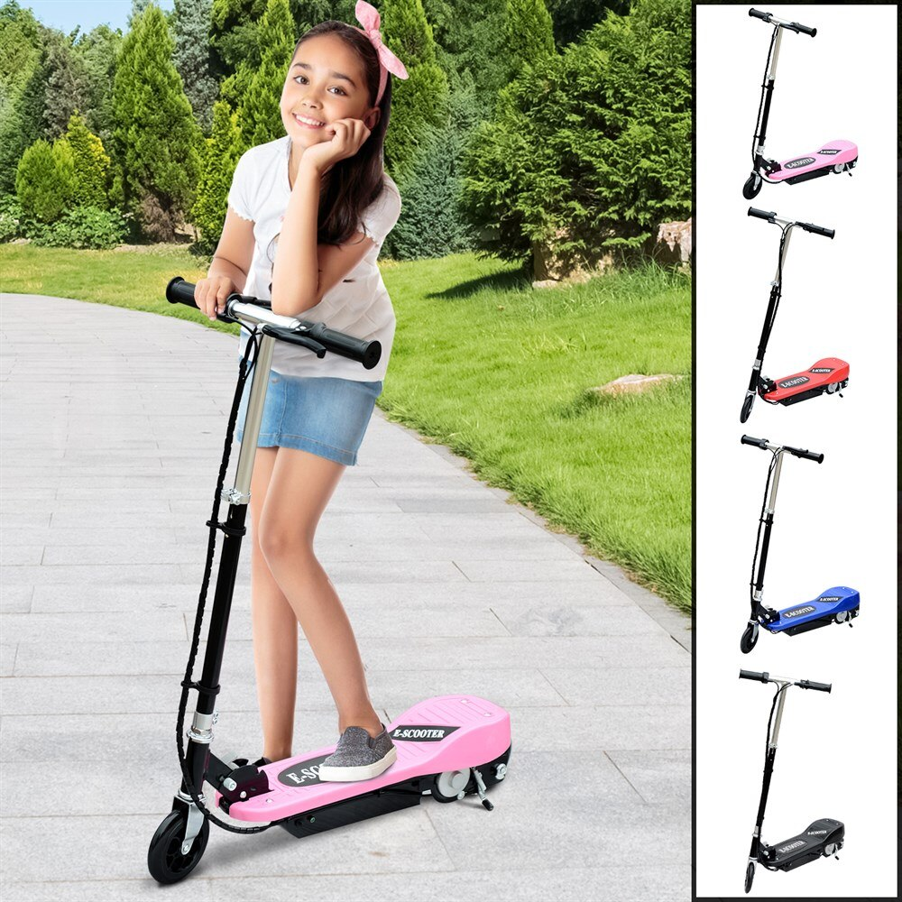 HOMCOM Patinete Plegable Electrico tipo Scooter para Niño con Manillar Ajustable Freno y Pie de Apoyo 120W Carga 50kg