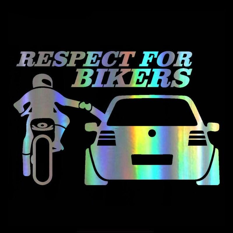 Купить с кэшбэком 15cmx8cm Respect the biker Car-Sticker Automobiles Motorcycles Window Bumper Laptop Vinyl Decal PVC Decorative Goods