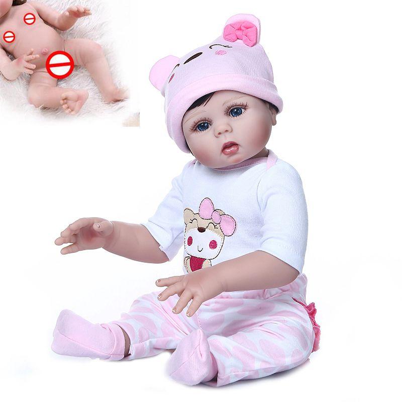 48cm Cute Newborn Baby Doll Full Body Silicone Vinyl Realistic Baby Bath Shower Toy Waterproof Boneca Christmas Best Value Gift