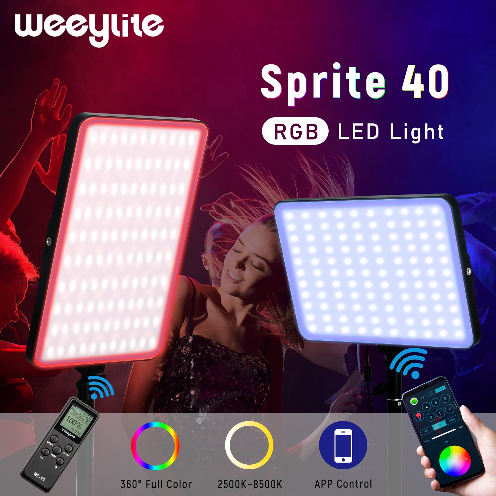 Weeylite sprite40 RGB APP Control LED Light Full Color Photography Lighting Lamp For YouTube Game Live Video Beauty nail skin
