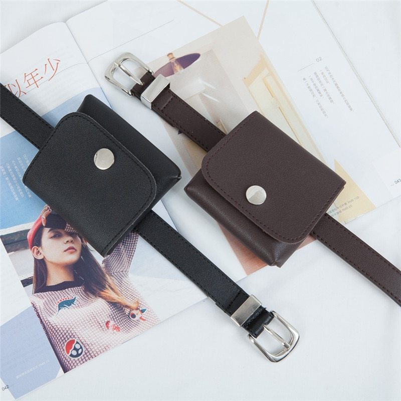 Trendy Unique with Bag Female CHCI Korean Style Cool Fashionable Black Leather Small Belt Decorative