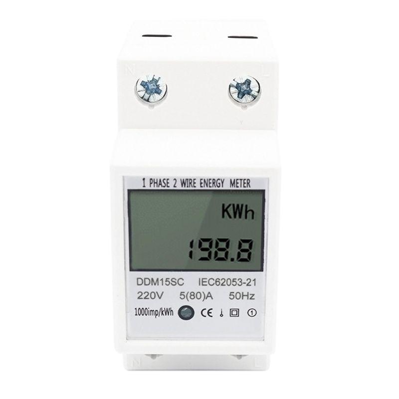 Medidor de energía de pantalla LCD 5-80A DDM15SC pantalla Digital monofásica DIN-Rail medidor de energía electrónica KWh