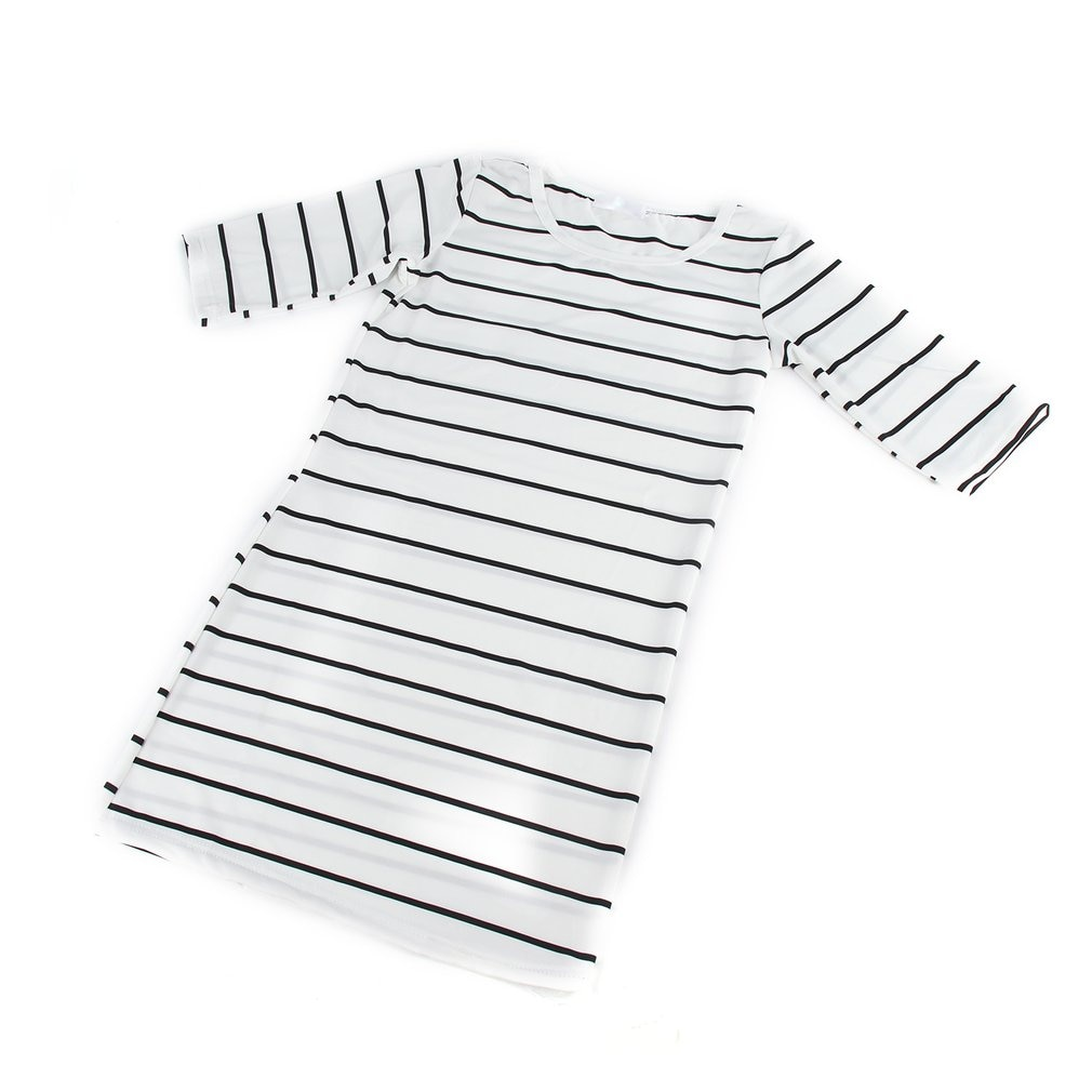 Korean Half Sleeve Striped T-shirt Round Collar Pullover Dress Patchwork New Fashion For Women Summer Comfortable