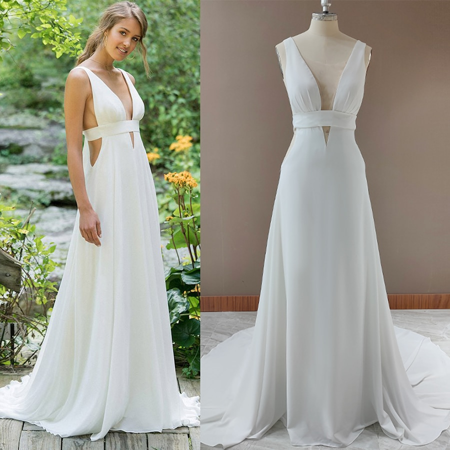 Get Sexy Bandage A Line Wedding Dress Deep V-Neck Simple Chiffon Backless 2021 Cheap Beach Custom Made Exposed Long Bridal Gowns