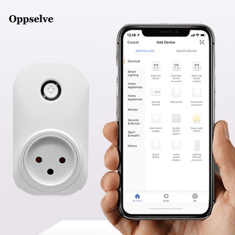 Oppselve Smart Plug ISRAEL Brazil US EU Wifi Chile Outlet Power Monitor Tuya Smart Life App Works with Alexa Google Home